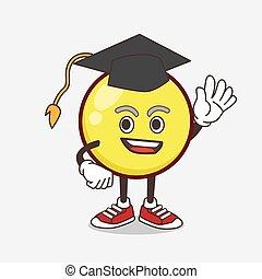 kugel, maskottchen, emoticon, studienabschluss, karikatur, hut, gelber , zeichen, schwarz