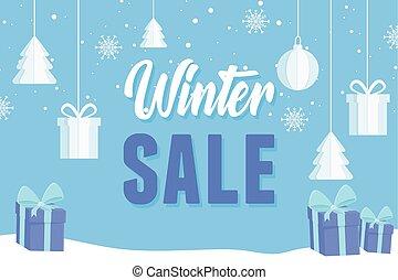 kugeln, winter, werbung, baum, geschenk, banner, verkauf, dekoration