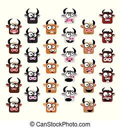 Kuh-Emoticons eingestellt.