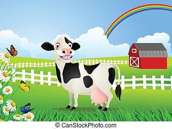 Kuh-Karikatur auf der Weide
