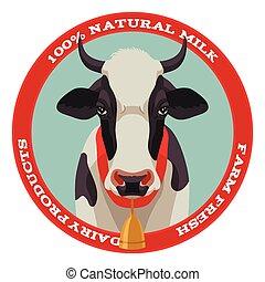 Kuh-Label, roter Stil.