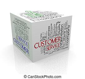 kunde, würfel, wort, service, etikette, wordcloud, 3d