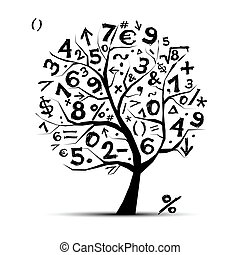 kunst, baum, symbole, design, dein, mathe