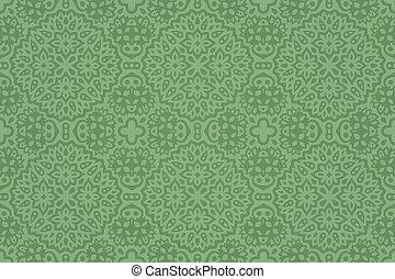 kunst, grün, hand, fliese, blumen-, gezeichnet, muster