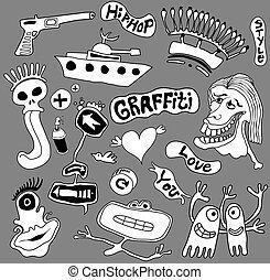 kunst, graffiti, elemente, abbildung, städtisch