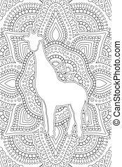 kunst, linie, buch, giraffe, färbung, silhouette