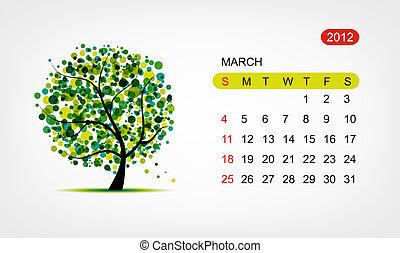 kunst, march., baum, vektor, design, 2012, kalender