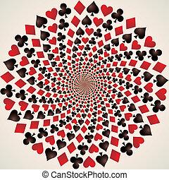 kunst, suit., karten., spielen karte, op