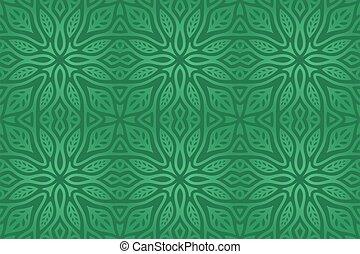 kunst, vektor, abstrakt, grün, blumenziegel, muster