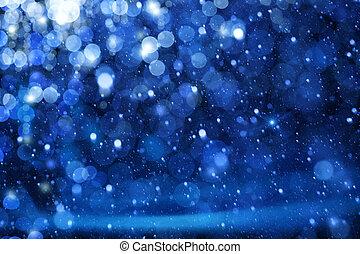 Kunst-Weihnachtslichter auf blauem Hintergrund