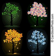 Kunstbaum für dein Design. Vier Saisons