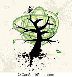 Kunstbaum, Grunge-Hintergrund