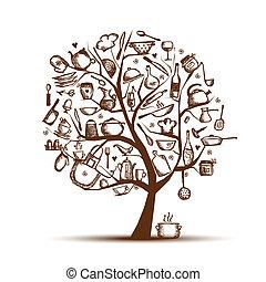 Kunstbaum mit Küchenutensilien, Zeichnung für Ihr Design