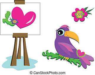 Kunstlehrling, Toucan und Blume