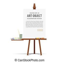 Kunstlektüre und Leinwand mit Ausrüstung für die Malerei für Werbe- und Präsentationsgrafik Vektor.