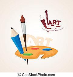 Kunstpalette mit Pinsel und Bleistift