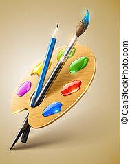 Kunstpalette mit Pinsel und Bleistiftwerkzeugen zum Malen