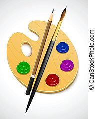 Kunstpalette und Instrument zum Zeichnen