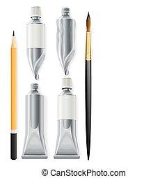 Kunstwerkzeuge Bleistiftbürste und Röhren mit Farbe.
