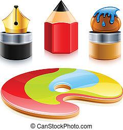 Kunstwerkzeuge, Stift und Pinsel