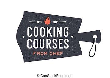 kurse, schneiden, kochen, kueche , board., logo