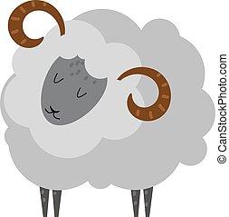 Lächelende Schaf-Karikaturtier-Lamm-Säugetiervektor.