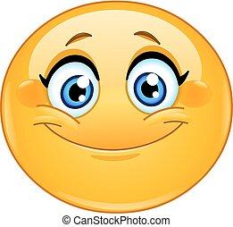Lächelende weibliche Emoticon.