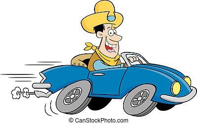 lächeln, cowboy, fahren, karikatur, mann, sport, hut, auto.