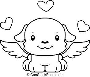 lächeln, junger hund, karikatur, amor