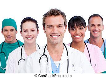 lächeln, medizinische mannschaft, porträt