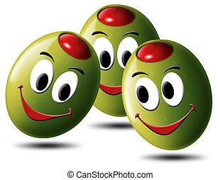 lächeln, oliven, gefüllt
