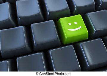 lächeln, taste, tastatur