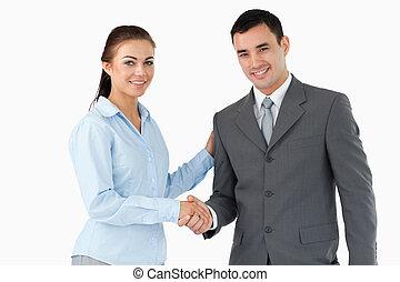 Lächeln von Geschäftspartnern