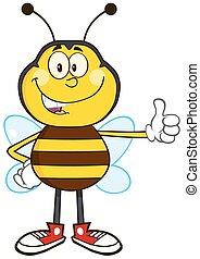 Lächelnde Biene zeigt Daumen nach oben.