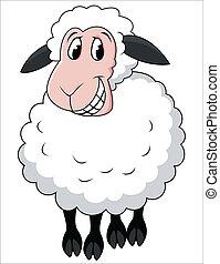 Lächelnde Schaf-Karikatur