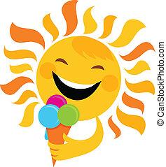 Lächelnde Sonne, die Eis isst