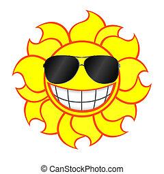 Lächelnde Sonne mit Sonnenbrille.