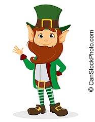 Lächelnde Zeichentrickfigur Leprechaun mit grünem Hut winkender Hand