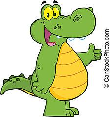 Lächelnder Alligator oder Krokodil