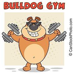 Lächelnder brauner Bulldog-Cartoon-Maskottchen-Charakter mit Sonnenbrille, die mit Dumpingeln arbeiten