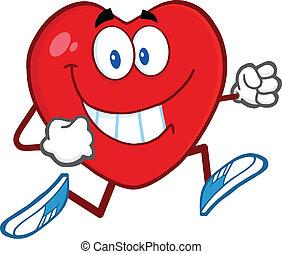 Lächelnder Herzcharakter läuft.