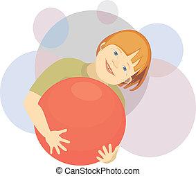 Lächelnder Junge mit dem Ball