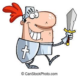 Lächelnder Ritter mit Schwert