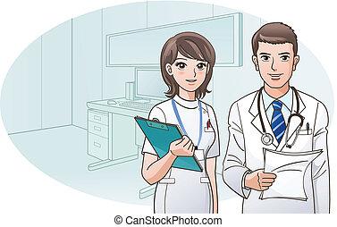 Lächelnder selbstbewusster Arzt und Krankenschwester