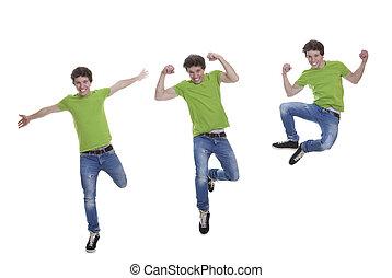 Lächelnder Teenie-Jumping
