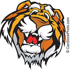 Lächelnder Tiger-Maskottchenvektor