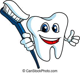 Lächelnder Zahn mit Zahnbürste