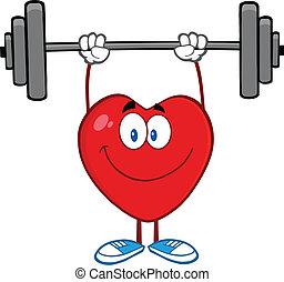 Lächelndes Herz hebt Gewichte.