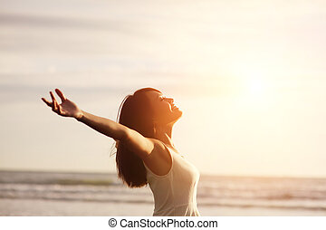 Lächle frei und glücklich