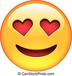 Lächle in Liebes-Emoticon